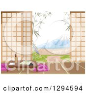 Clipart Of A Japanese Inn Room Yard And View Of Mt Fuji During The Day Royalty Free Vector Illustration