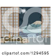 Clipart Of A Japanese Inn Room Yard And View Of Mt Fuji At Night Royalty Free Vector Illustration