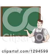 Clipart Of A Friendly Male Waiter Presenting A Chalkboard Menu Royalty Free Vector Illustration