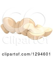 Clipart Of Whole And Sliced Button Mushrooms Royalty Free Vector Illustration by BNP Design Studio