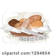 Clipart Of A Basket Of Assorted Bread And Tongs Royalty Free Vector Illustration by BNP Design Studio