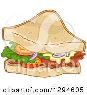 Clipart Of A Half Club Sandwich Royalty Free Vector Illustration