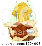 Clipart Of A Basket Of Buffalo Wings And A Frothy Overflowing Mug Of Beer Royalty Free Vector Illustration