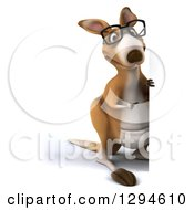 Clipart Of A 3d Full Length Bespectacled Kangaroo Pointing Around A Sign Royalty Free Illustration