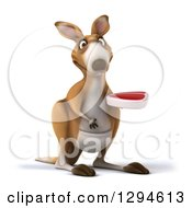 Clipart Of A 3d Kangaroo Facing Slightly Right And Holding A Beef Steak Royalty Free Illustration