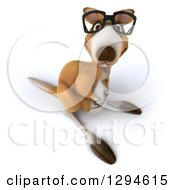 Clipart Of A 3d Bespectacled Kangaroo Looking Upwards Royalty Free Illustration