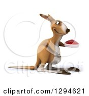 Clipart Of A 3d Kangaroo Facing Right And Holding A Beef Steak Royalty Free Illustration