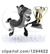 Clipart Of A 3d Black Horse Running Slightly To The Right With A Championship Trophy Royalty Free Illustration