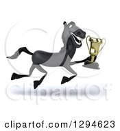 Clipart Of A 3d Black Horse Running To The Right With A Championship Trophy Royalty Free Illustration