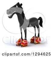 Clipart Of A 3d Black Horse Facing Left And Roller Skating In Inline Rollerblades Royalty Free Illustration