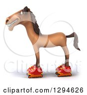 Clipart Of A 3d Brown Horse Facing Left Roller Skating In Inline Rollerblades Royalty Free Illustration