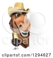 Clipart Of A 3d Happy Brown Cowboy Horse Holding Champagne Around A Sign Royalty Free Illustration by Julos