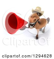 Clipart Of A 3d Happy Brown Cowboy Horse Announcing Upwards With A Megaphone Royalty Free Illustration by Julos