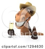 Clipart Of A 3d Happy Brown Cowboy Horse Holding Champagne Over A Sign Royalty Free Illustration by Julos