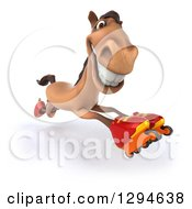 Clipart Of A 3d Fast Brown Horse Roller Skating In Inline Rollerblades Royalty Free Illustration