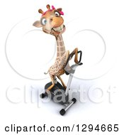 Clipart Of A 3d Female Giraffe Exercising On A Spin Bike Royalty Free Illustration