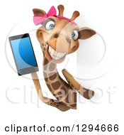 Clipart Of A 3d Female Giraffe Talking On A Smart Cell Phone Around A Sign Royalty Free Illustration by Julos