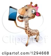 Clipart Of A 3d Female Giraffe Chatting On A Smart Cell Phone Royalty Free Illustration by Julos