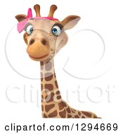 Clipart Of A 3d Female Giraffe Over A Sign Royalty Free Illustration by Julos