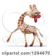 Clipart Of A 3d Female Giraffe Laughing And Walking To The Left Royalty Free Illustration by Julos