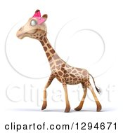 Clipart Of A 3d Female Giraffe Walking To The Left Royalty Free Illustration by Julos