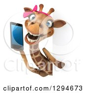 Clipart Of A 3d Female Giraffe Chatting On A Smart Cell Phone Around A Sign Royalty Free Illustration by Julos