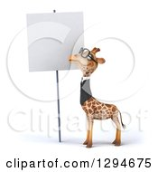 Clipart Of A 3d Bespectacled Business Giraffe Looking At A Blank Sign Royalty Free Illustration