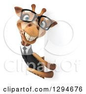 Clipart Of A 3d Happy Bespectacled Business Giraffe Grinning Around A Sign Royalty Free Illustration