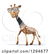 Clipart Of A 3d Happy Bespectacled Business Giraffe Walking Left And Smiling Royalty Free Illustration