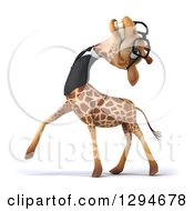 Clipart Of A 3d Happy Bespectacled Business Giraffe Walking Left Laughing And Tilting His Head Back Royalty Free Illustration