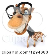 Clipart Of A 3d Happy Bespectacled Business Giraffe Smiling Upwards Royalty Free Illustration