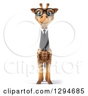 Clipart Of A 3d Bespectacled Business Giraffe Royalty Free Illustration by Julos