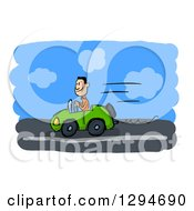 Clipart Of A Sketched Happy White Man Driving A Green Convertible Car Royalty Free Illustration by Julos