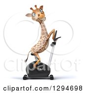 Clipart Of A 3d Happy Giraffe Facing Right And Exercising On A Spin Bike Royalty Free Illustration