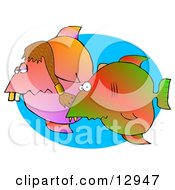 Silly Couple Of Tropical Fish Swimming In The Ocean Clipart Graphic Illustration