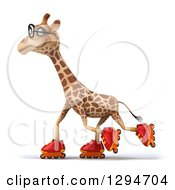 Clipart Of A 3d Bespectacled Rollerblading Giraffe Facing Left And Wearing Inline Roller Skates Royalty Free Illustration