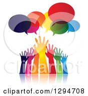 Clipart Of A Group Of Gradient Colorful Hands Reaching For Help Under Speech Bubbles Royalty Free Vector Illustration by ColorMagic