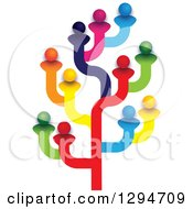 Clipart Of A Colorful Tree Made Of Family Members Friends Or Employees Royalty Free Vector Illustration by ColorMagic