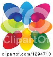 Clipart Of A Unity Team Circle Of Colorful People Huddled Shoulder To Shoulder Royalty Free Vector Illustration