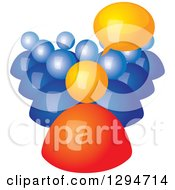 Clipart Of A 3d Orange Talking Boss And Blue Employees Royalty Free Vector Illustration