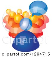Clipart Of A 3d Blue Talking Boss And Orange Employees Royalty Free Vector Illustration by ColorMagic