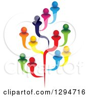 Clipart Of A Tree Made Of Colorful Family Members Friends Or Employees Royalty Free Vector Illustration