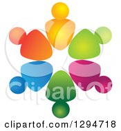 Clipart Of A Unity Team Circle Of Colorful Abstract People 3 Royalty Free Vector Illustration
