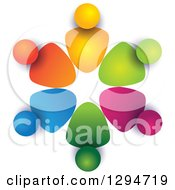 Clipart Of A Unity Team Circle Of Colorful Abstract People With Shading On White 3 Royalty Free Vector Illustration