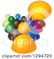 Clipart Of A Group Of 3d Colorful People With A Talking Boss Royalty Free Vector Illustration by ColorMagic