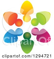 Clipart Of A Unity Team Circle Of Colorful Abstract People 2 Royalty Free Vector Illustration