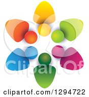 Clipart Of A Unity Team Circle Of Colorful Abstract People With Shading On White 2 Royalty Free Vector Illustration