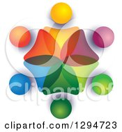 Clipart Of A Unity Team Circle Of Colorful Abstract People Overlapping With Shading On White Royalty Free Vector Illustration