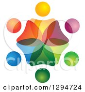 Clipart Of A Unity Team Circle Of Colorful Abstract People Overlapping Royalty Free Vector Illustration