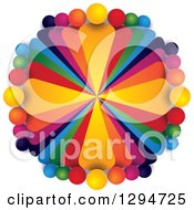 Clipart Of A Circle Of Colorful Teams Of People With Shading On White Royalty Free Vector Illustration